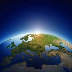 Planet earth - Europe with sunrise