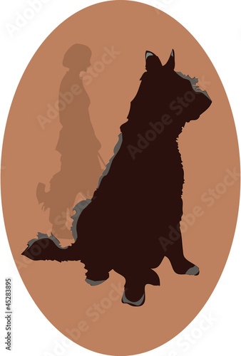 dog logo with woman silhouette - vector EPS 10 transparencies