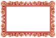 Cadre baroque rectangulaire, métallisé rouge