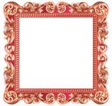 Cadre baroque carré, métallisé rouge