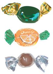 Trois bonbons enveloppés