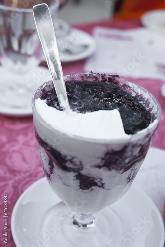 Sicilian granita with whipped cream and mulberry