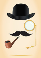 Retro elements set: bowler, moustache, tobacco pipe and monocle