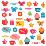 A set of cute colorful childish elements for design