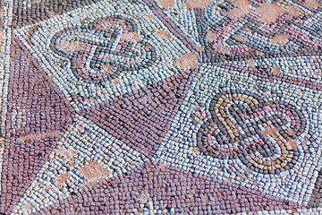 Ancient mosaics in the archaeological site, Paphos, Cyprus