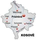 Map of  Kosovo in grey poster