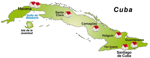 Infografik von Kuba als Landkarte
