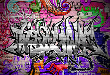 Graffiti vector art. Urban wall with spray paint