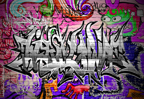Graffiti vector art Urban wall with spray paint