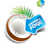 Icon coconut with arrow by organic food. Vector illustration