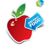 Icon red apple with the arrow by organic food. Vector