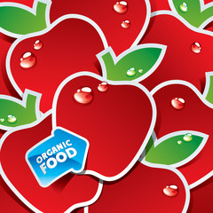 Background from red apples with the arrow by organic food. Vecto