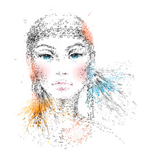 The young beautiful girl. Hand-drawn portrait. Vector