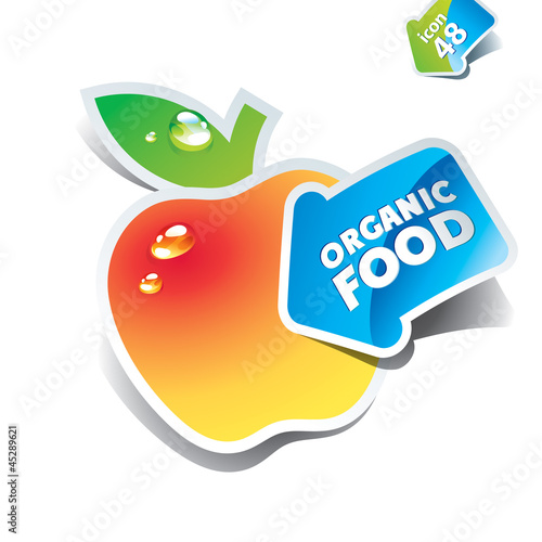 Icon yellow apple with the arrow by organic food. Vector illustr