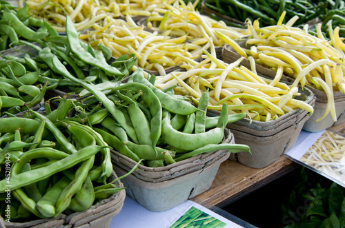 Multiple Green Pea Pods and Yellow Wax Beans in Baskets