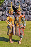 khon show asian women in traditional costume