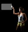 Woman touching digital screen display