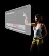 Informal Young woman touching digital screen displaying a web si