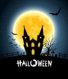 Fototapety Halloween house party full moon, vector illustration
