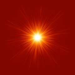 Star burst red and yellow fire. EPS 8