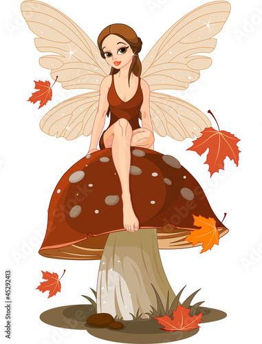 Fotobehang Magische wereld Autumn Fairy on the Mushroom