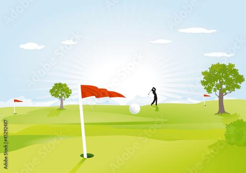 Golfplatz mit roten Flaggen