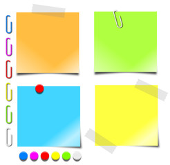 notepaper paperclips pushpins