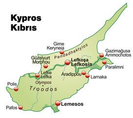 Übersichtskarte von Zypern