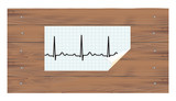 ECG on wooden background. llustration.
