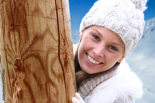 Beautiful young woman wearing woolen clothes