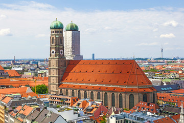 Aerial view of Munchen: Marienplatz, New Town Hall and Frauenkir