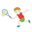 Vector illustration of cartoon boy playing tennis