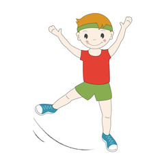Vector illustration of a young gymnast