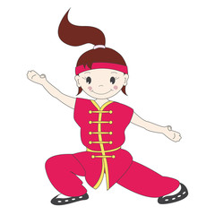 Vector illustration of cartoon  kung fu girl