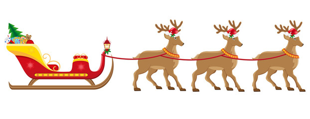 christmassanta sleigh with reindeer vector illustration
