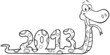 Outlined Snake Cartoon Character Showing Numbers 2013