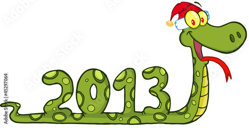 Funny Snake  Showing Numbers 2013 With Santa Hat