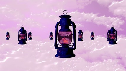 blue lamps floating dreaming with pink sky