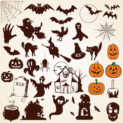 Halloween icons silhouettes, set of various design elements