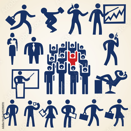 Business people icon set, various business theme resources