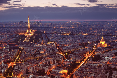 Aluminium Artistiek mon. Night view of Paris.