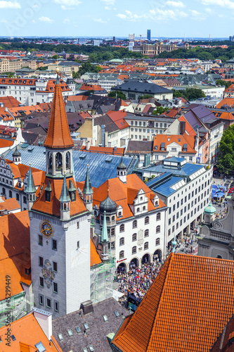 The aerial view of Munich city center from the tower of the old