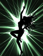 go-go dancer and laser show