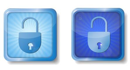 blue radial open lock icon