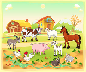 Farm animals with background. Vector illustration.
