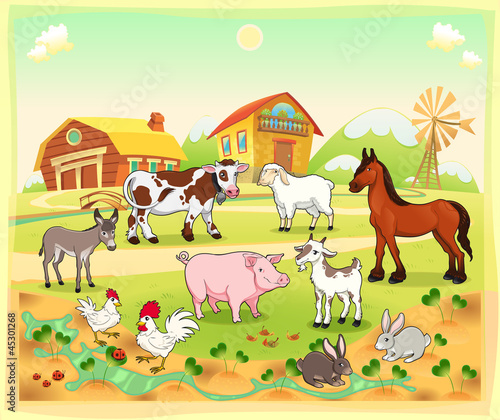 Sticker Farm animals with background. Vector illustration.