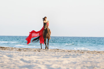 young beautiful woman in red dress riding horse on sea backgroun