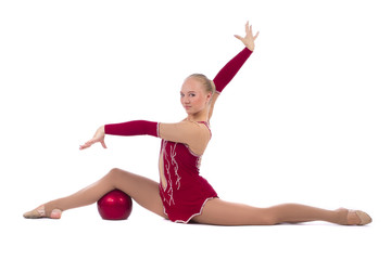 gymnastic girl standing on hands