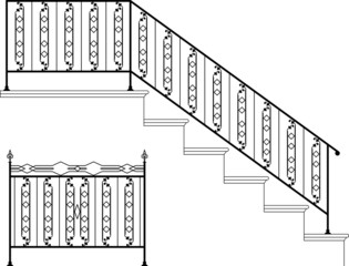 Wrought iron  stairscase and gate