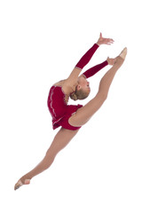 Beautiful girl gymnastlc leg up over white